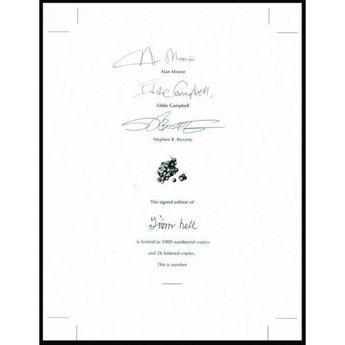 From Hell aláírt könyvlap (Alan Moore, Eddie Campbell, Steve Bissette)